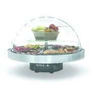 SAYL Présentoir Réfrigéré Rond Convient pour 8 Plateaux de Buffet Eclairage LED 950x950x(H)750mm