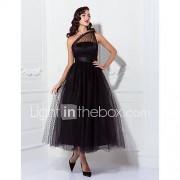 A-line prinses een schouder enkellengte tulle prom trouwfeestjurk met drapering door ts couture