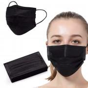 Ochranná rouška z netkané textilie 3 - vrstvá, černá - 10 ks - V&V