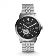 Fossil Men Townsman Automatic Stainless Steel Watch Silver/Black - One size