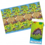 Dinosaur Table Cover - Wipe-Clean Table Cloth For Kids Dinosaur Birthday Parties. Size 137 x 213cm.