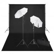 vidaXL Kit de estúdio, pano de fundo preto + luzes, 600 x 300