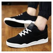 Zapatos De Los Hombres Calzado Deportivo Suede Leather Zapatos De Tenis Casual Masculino -Negro