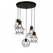 [lux.pro] Függőlámpa vintage design állítható függeszték Kairó 25cm - 85cm mennyezeti lámpa fekete