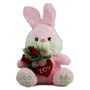 Tickles Pink Romantic Bunny with Rose and Heart for Valentine Stuffed Soft Plush Toy 25 cm