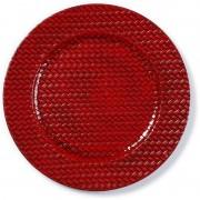 Merkloos Kaarsenbord/plateau rood gevlochten 33 cm rond