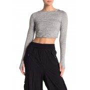 Free People Swerve Long Sleeve Ruched Crop Top GREY COMBO