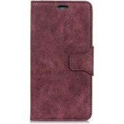Shop4 - Xiaomi Mi A2 Lite Hoesje - Wallet Case Vintage Donker Rood