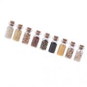 IJARP 9pc Mini Dried Food Glass Jar Groceries Foods for 1/12 Dolls House Kitchen Accessory Decoration