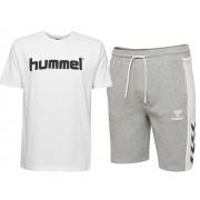 Pachet hummel Mason barbati, bermude + tricou bumbac logo, gri-alb S