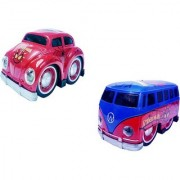 Die Cast Spider Cartoon Printed Metal Model Pull Back Car and Van Toy with Light and Sound(Multicolor)
