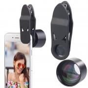 Somikon HD-Tele- & Portrait-Vorsatzlinse für Smartphones, 2x, Clip-Halterung