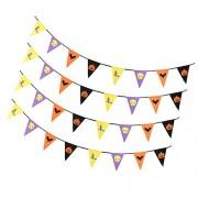 ELECTROPRIME 4x Halloween Banner Ghost Bunting Pumpkin Hanging Party Haunted House Garden