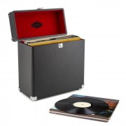 TTS6 Vinylbox Plattenkoffer Leder Nostalgie 30 LPs schwarz Schwarz
