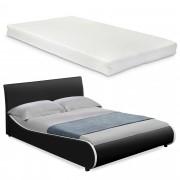 Съвременно тапицирано двойно легло с матрак Corium® 180x200cm , Черно