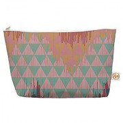 Kess InHouse Everything Bag Tapered Pouch Nika Martinez iKat Geometrie II Green Pink 8.5 x 4 Inches (MM1039BEP03)