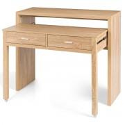 Costway Table de Bureau à Rallonges peut Transformer Comme Console Extensible avec 2 Tiroirs en Bois Multifonctionelle