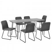 [en.casa]® Mesa de comedor elegante con patas de horquilla - 160cm x 75cm x 77cm - Aspecto de hormigón + 6 sillas de diseño - gris oscuro