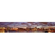 Werk aan de Muur Schilderij Mooie wolken lucht boven Rotterdam panorama - Canvas - 230x45