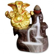 Ganesh ji idols Backflow Cone Incense Holder(gold metallic color) with 10 Free Smoke Backflow Scented Cone Incenses