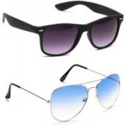 Marc Jones Wayfarer, Aviator Sunglasses(Blue, Grey)