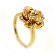 Rózsás Swarovski kristályos gyűrű, arany színű-7