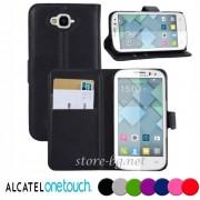 Alcatel Pop C7 Magnetic Wallet Кожен Калъф + Протектор