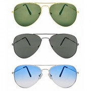 D DEBONAIR new Collection Men's Sunglasses Black Blue Green Combo pack of 3