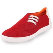 Fausto Women's Red Lace Up Sneakers Casual Shoes