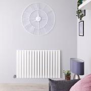 Hudson Reed Radiateur design électrique horizontal - Blanc - 63,5 cm x 100 cm x 5,4 cm - Sloane