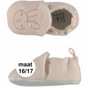 Apollo Geboorte kado meisjes baby slofjes met konijntje maat 16/17
