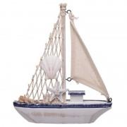 Geen Decoratie vissersboot van hout 18 cm