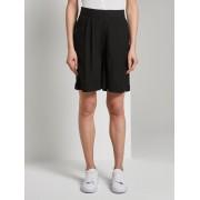 TOM TAILOR Loose fit Bermuda shorts met elastische tailleband, Deep Black, 38