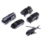 MagiDeal Kids Toy Model Diecast Car 1:64 Vehicle Model Set (5 Pieces) Collection Gift - City Police Set