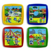 Set 4 puzzle Timpul liber Miniland, 21 x 21 cm, Multicolor