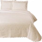 Set de cuvertura de pat Valentini Bianco cu 2 fete de perna din bumbac jackard model Fust 045 Crem