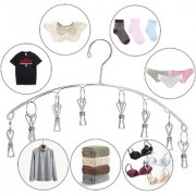 Kawachi Stainless Steel Laundry Drying Rack 8 Clips Clothes Socks Dryer Socks Undergarments Towels Scarf Baby Cloth