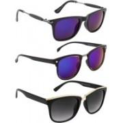 NuVew Clubmaster, Wayfarer Sunglasses(Blue, Grey, Blue, Green)