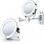 Козметично огледало Beurer BS59, 2 огледала (нормално и с 5 степенно увеличение), 8 LED диода, диаметър 11см, възможност за закачане на стена