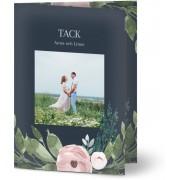 Optimalprint Tackkort för bröllop, glansigt papper, standard-kuvert, 1 st, fotokort (1 foto), blommor, löv, marinblå, rosa, A6, vikt, Optimalprint