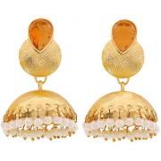Maayra Women Earrings Wedding Festival Copper Jhumki Orange White Pearl Jewellery