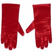 Geen Rode gala handschoenen kort van satijn 20 cm