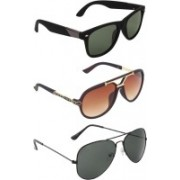 Zyaden Wayfarer, Aviator, Rectangular Sunglasses(Green, Brown, Black)