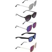 David Martin Round, Retro Square, Wayfarer Sunglasses(Blue, Grey, Violet)