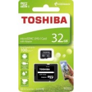 Toshiba M203 32GB Class 10 MicroSDXC 100MB Memory Card with Adapter 32 GB MicroSD Card Class 10 100 MB/s Memory Card