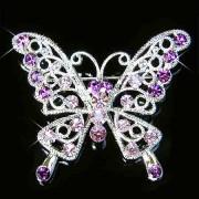 Purple Cutout Butterfly Swarovski Crystal Brooch