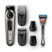 Aparat de tuns barba si parul + Gillette Fusion5 ProGlide Braun BT7020 lavabil 39 setari taiere acumulator Negru Argintiu