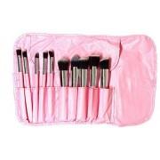 Krasati Set de 10 Brochas profesionales para maquillaje KABUKI Extra suaves (Negro, Dorado, Rosa y Blanco Perla) (Rosa)