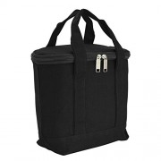 """DALIX 9.5"""" Insulated Cooler Lunch Box Bag Organizer Soft Cotton Canvas in Black"""