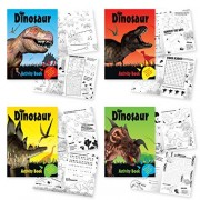 Pack of 4 Dinosaur Activity Books for Children. 4 Different Dino Books with Activities Including: Coloring, Puzzles/Mazes, Hidden Word, Memory Game, Jokes & More